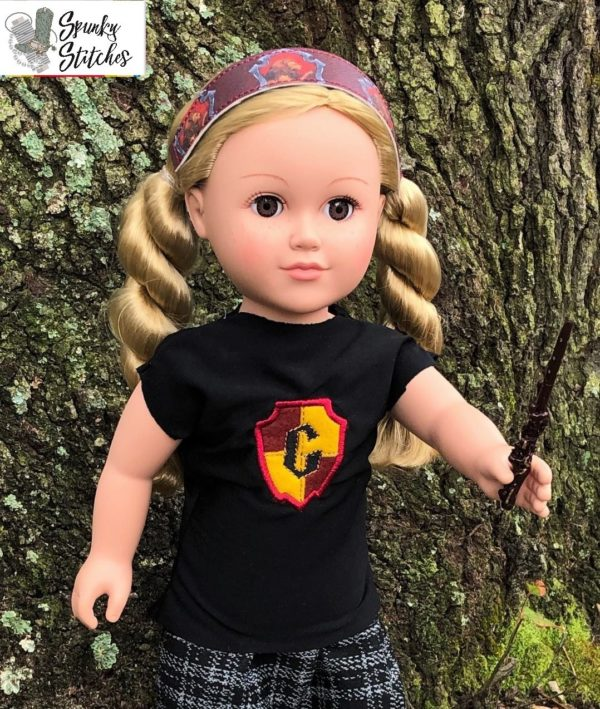 18in gryffindor shirt in the hoop embroidery file by Spunky stitches