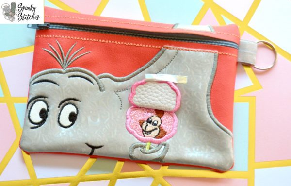 Horton Flap Zipper Bag in the hoop embroidery file by Spunky stitches