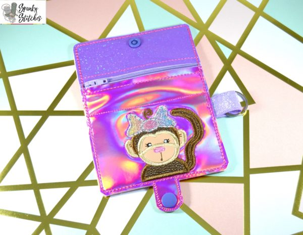 Monkey Girl Zipper Wallet in the hoop embroidery file by Spunky stitches