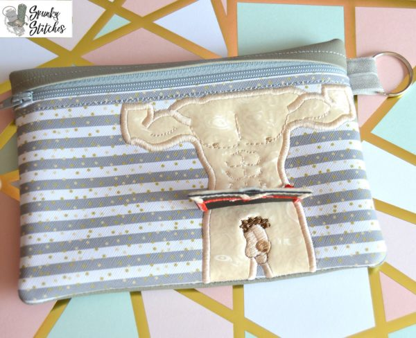 Muscle man flap bag in the hoop embroidery file by Spunky stitches