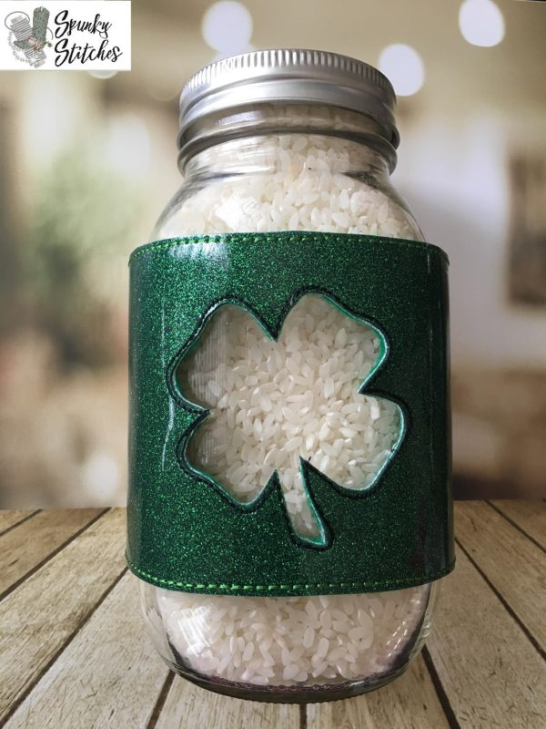 Shamrock jar wrap in the hoop embroidery file by Spunky stitches
