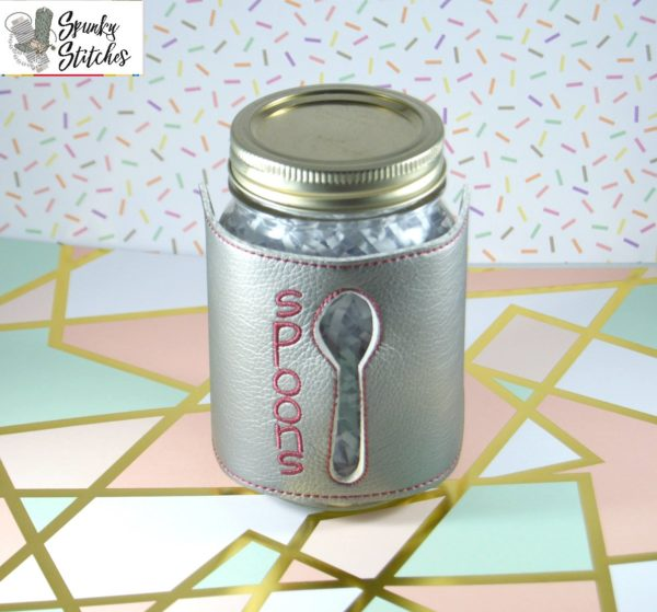 Spoon Jar wrap in the hoop embroidery file by Spunky stitches