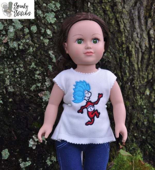 18in Doll Thing One shirt in the hoop embroidery file by Spunky stitches