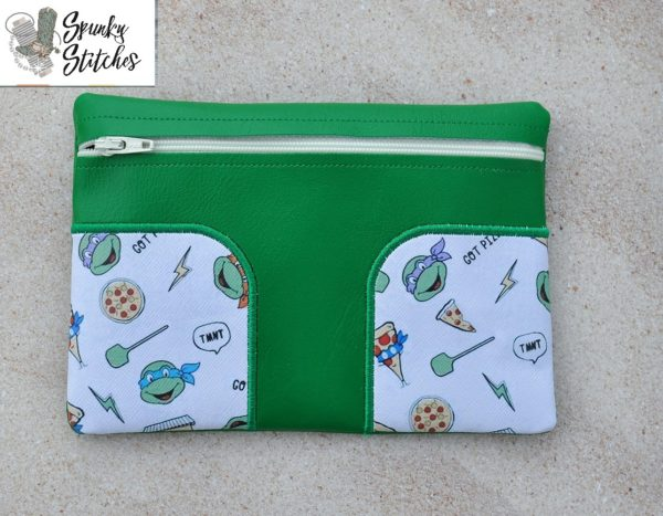 Tshape zipper bag in the hoop embroidery file by Spunky stitches