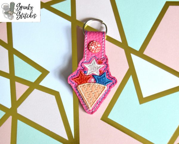 Fourth Ice Cream Cone Key Fob in the hoop embroidery file by Spunky stitches