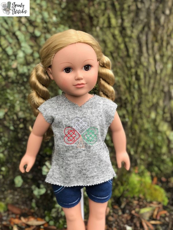18in Doll irish shamrock shirt in the hoop embroidery file by Spunky stitches