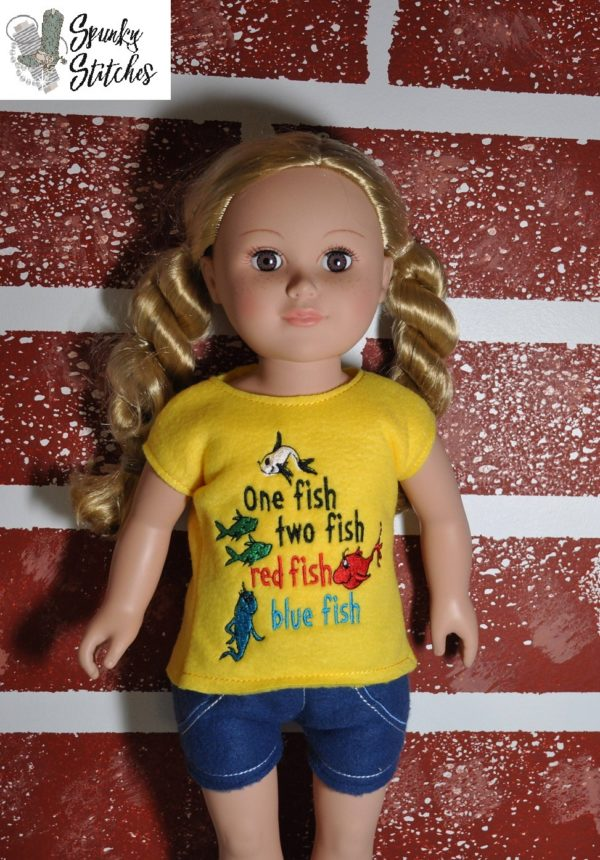 18in Doll one fish shirt in the hoop embroidery file by Spunky stitches