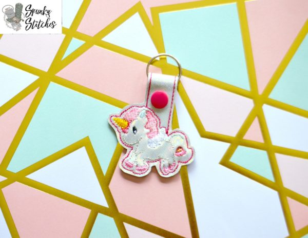 Unicorn Flap Key Fob in the hoop embroidery file by Spunky stitches