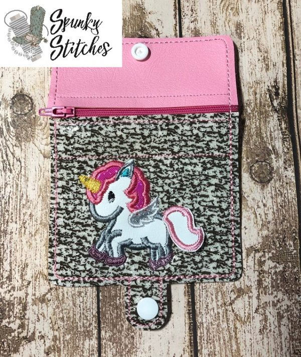 Unicorn Flap zipper wallet in the hoop embroidery file by Spunky stitches