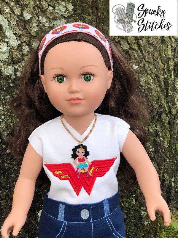 18in wonder woman shirt in the hoop embroidery file by Spunky stitches