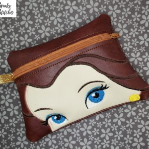 belle zipper bag in the hoop embroidery file by Spunky stitches
